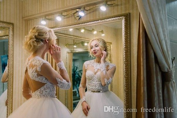 New Designer Ball Gown Princess Wedding Dress O Neck Illusion Long Sleeve Lace Backless Bridal Gowns Custom Made from China