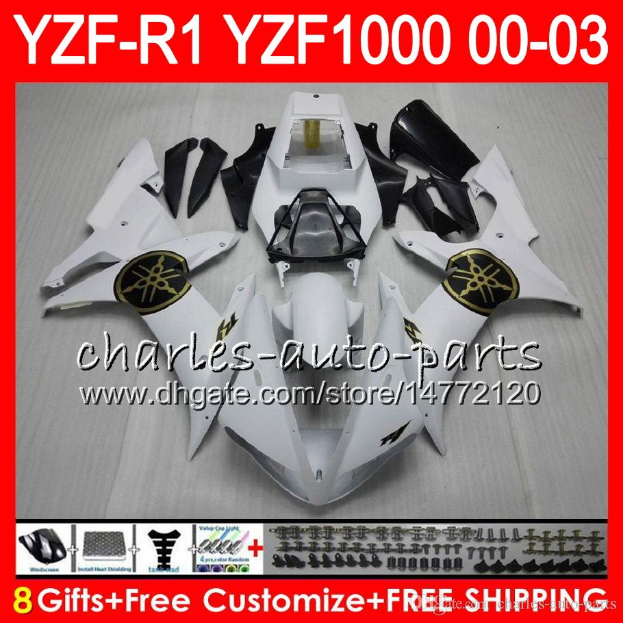 8Gift Body For YAMAHA YZF R1 YZF 1000 YZFR1 02 03 00 01 62HM14 white black YZF1000 R 1 YZF-R1000 YZF-R1 2002 2003 2000 2001 Fairing