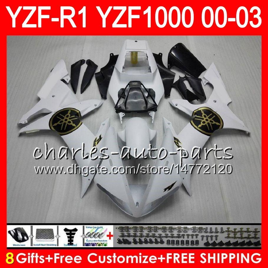 8Gift Body YAMAHA YZF R1 YZF 1000 YZFR1 02 03 00 01 62HM14 bianco nero YZF1000 R 1 YZF-R1000 YZF-R1 2002 2003 2000 2001 Carena