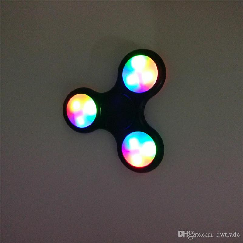 Top Quality LED Fidget Spinner LED Fidget Tri Spinners Toys Luminous Light Hand Spinnerhu with Switch ON OFF by DHL