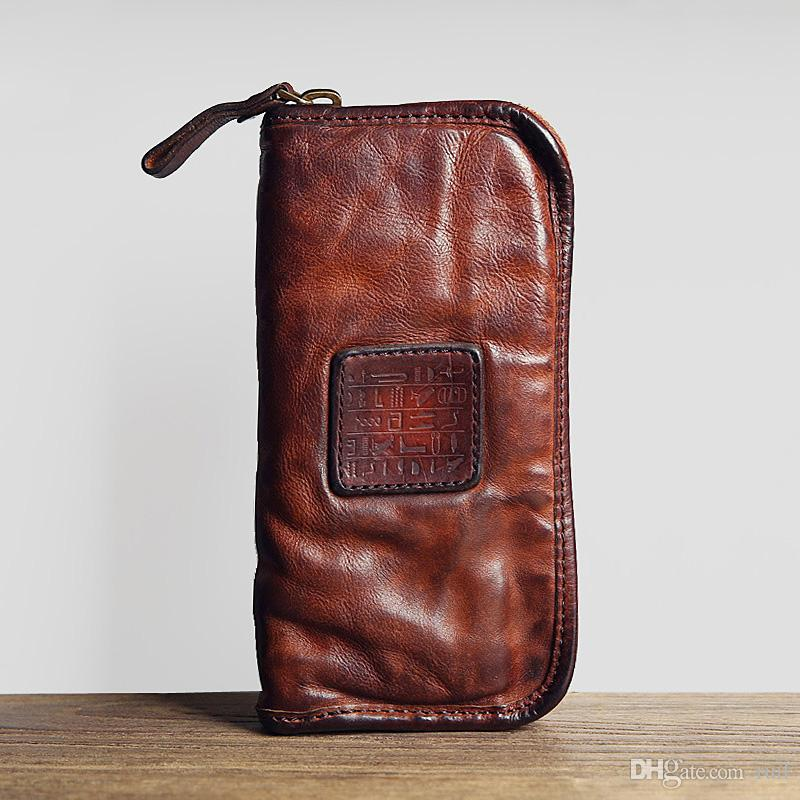 Ruil 2017 New Men Wallet Top Quality England Retro Style Handmade Oil Leather  Crazy Horse Leather Zipper Handbag Coin Purse Wallet Wallets Mens Wallet ... 509c51e0544a5