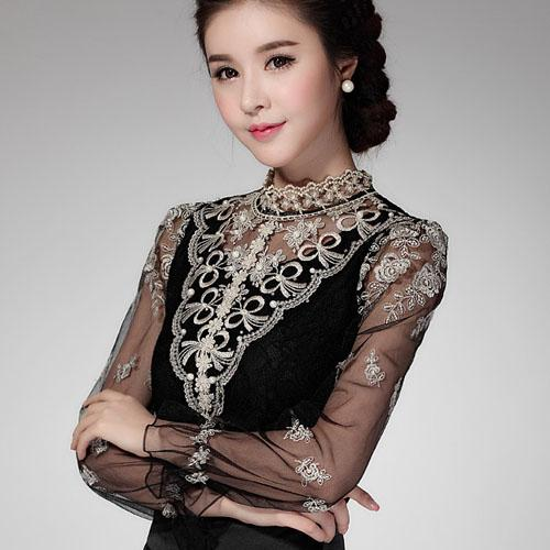 1a6f29cd91d2f 2019 2018 M 3XL Tops Female Long Sleeved Women Blouses Slim Elegant Plus  Size Beaded Sexy Shirt From Zhang110119