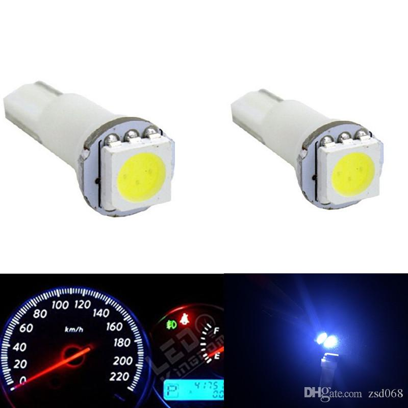 100PC/LOT Auto Car 5050 SMD T5 74 70 37 Car Dash Wedge Dashboard Instrument LED Light White 12 V DC