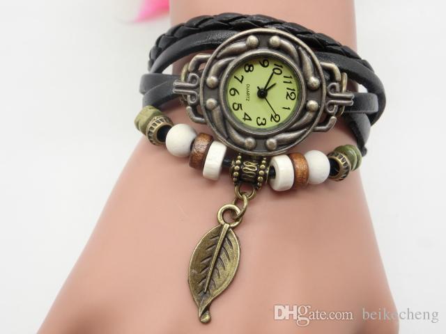 100 unids/lote mezcla es árbol hoja colgante reloj mujeres pulsera cuarzo relojes señoras relojes LP006