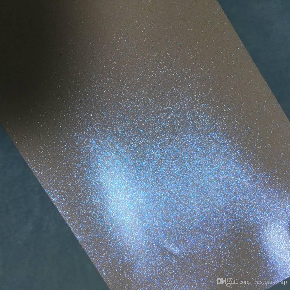 Mat Beyaz Mavi Inci Glitter shift Vinil Wrap Film Hava Kabarcık Ücretsiz Araba wrap kapsayan Folyo Union Birliği 1.52 * 20 M / Rulo 5X67F