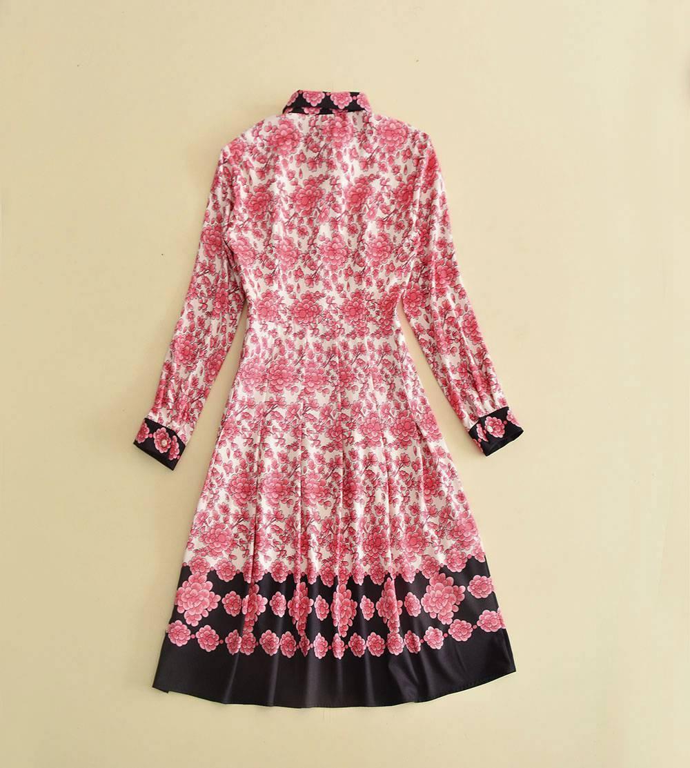 2018 Runway Dress Brand Same Style Flora Print Bow Lapel Neck Mid Calf Long Sleeve Empire Cotton Polyester JN