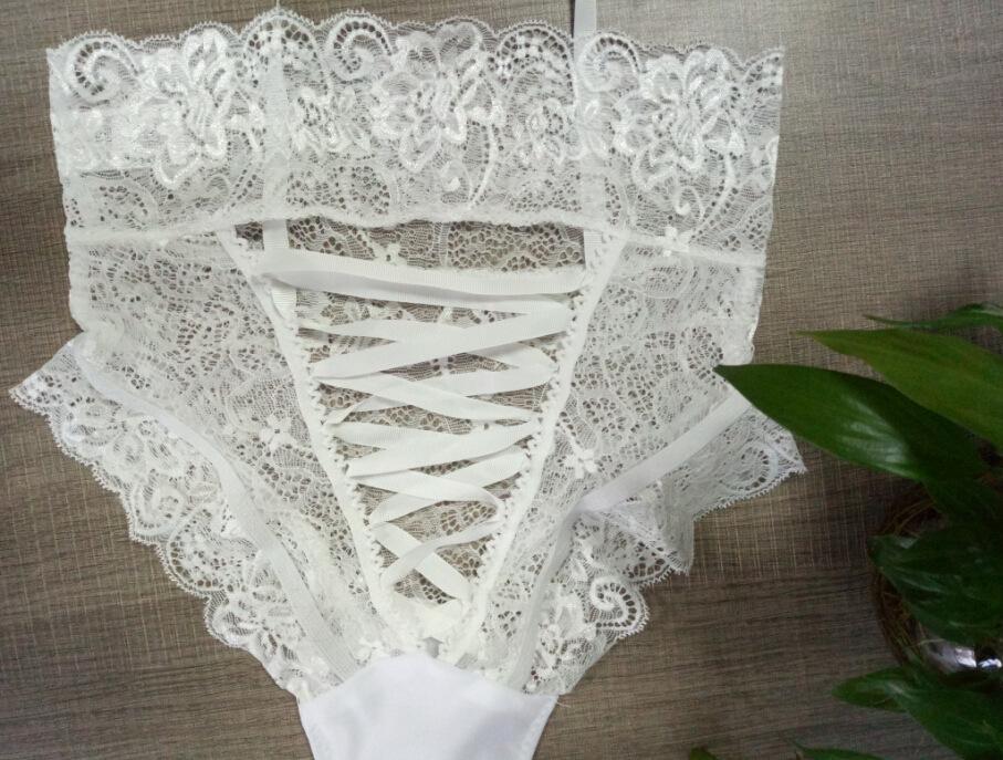 2017 Nuovo arriva Sexy Lingerie delle donne Intimates Mutandine Bondage Slip a vita alta scava fuori G-string Plus Size XXXL Tanga di pizzo