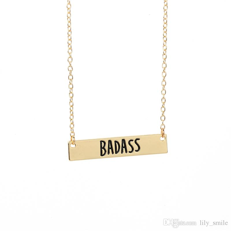 2017 New Hot sale Personalized Handmade BADASS Necklace Cute Bar Necklace For Jewelry Gift