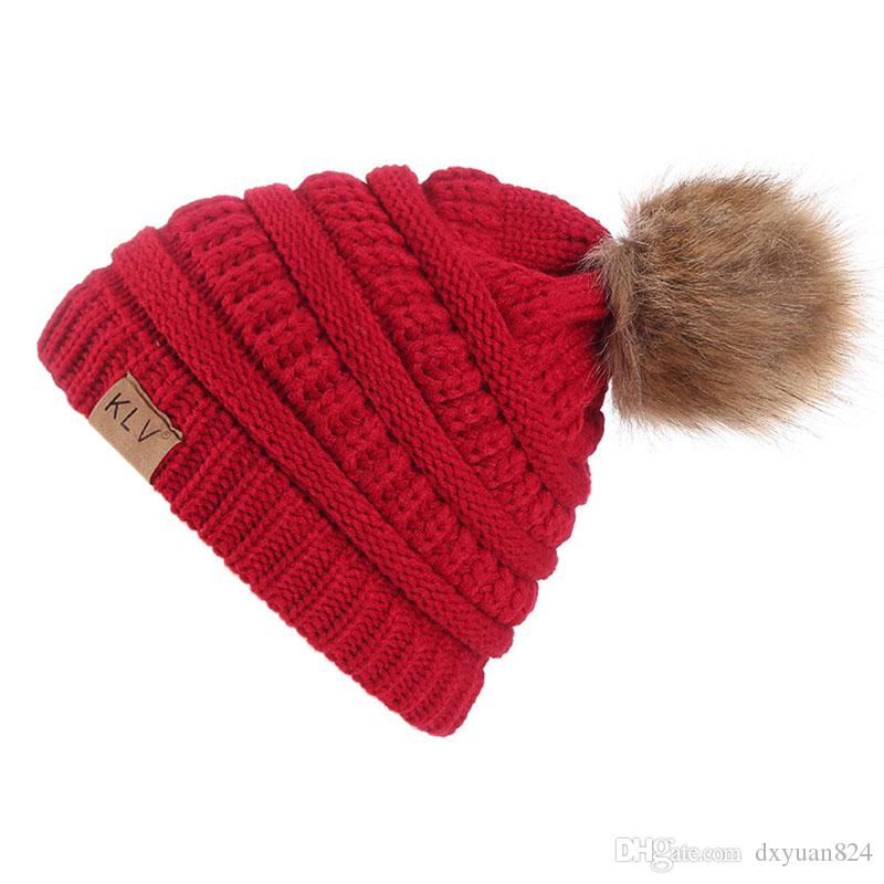 c8d041f3 Women Girls Winter Warm Knitted Beanie Fashion Cute Top Pom Pom Skull Caps  Cold Weather Thick Cable Crochet Hats Unisex Red Beanie Hats For Sale From  ...
