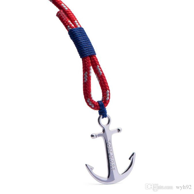 4 size Arctic 3 blue thread red rope bracelet stainless steel anchor Tom Hope bracelet with box and tag TH8