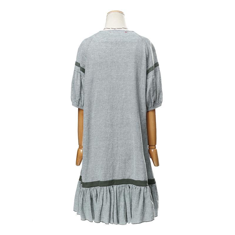 Kadın Yaz Yeni Vintage Fener Kol Pamuk Kısa Kollu Diz Boyu Gündelik Elbise LA14354X oymak