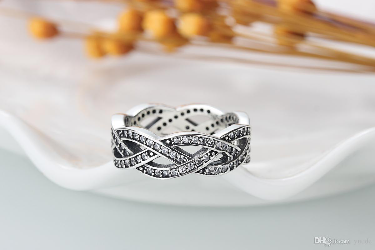 Ein Großhandel 925 Silber glänzend CZ Ring Diamant Ring Pass Pandora Cubic Zirkonia Jubiläum Schmuck für Frauen Weihnachtsgeschenk