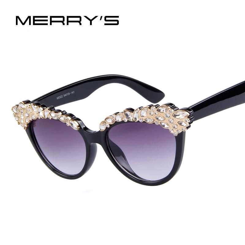 741da32d92d92 Compre Atacado Merry s Design De Moda Marca Mulheres Cat Eye Sunglasses Eye  Retro Cat Eye Rhinestone Frame Sunglasses De Juemin,  26.16   Pt.Dhgate.Com