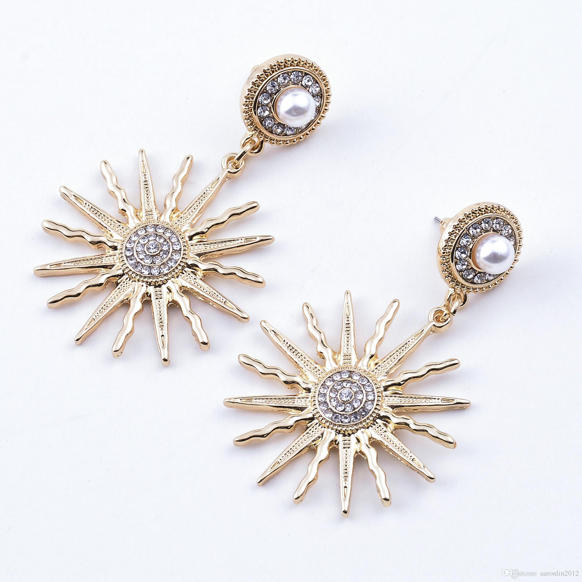Orecchini a forma di stella marina di cristallo nuovo di zecca le donne Gioielli di moda orecchino di perla oro brincos orecchino di fiore sole bijoux vintage