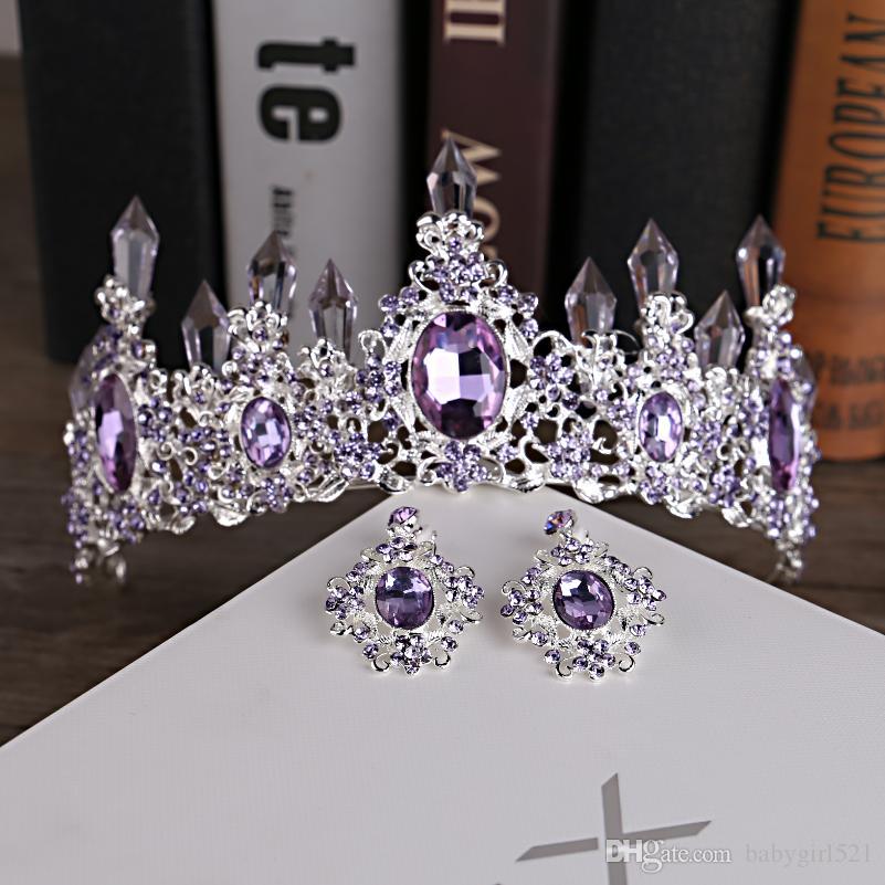2020 Couronnes de mariage pourpre cristal baroque luxe cheveux Tiara Handband Accessoires cheveux Prom Party Pageant Coiffes Erring bijoux de mariée