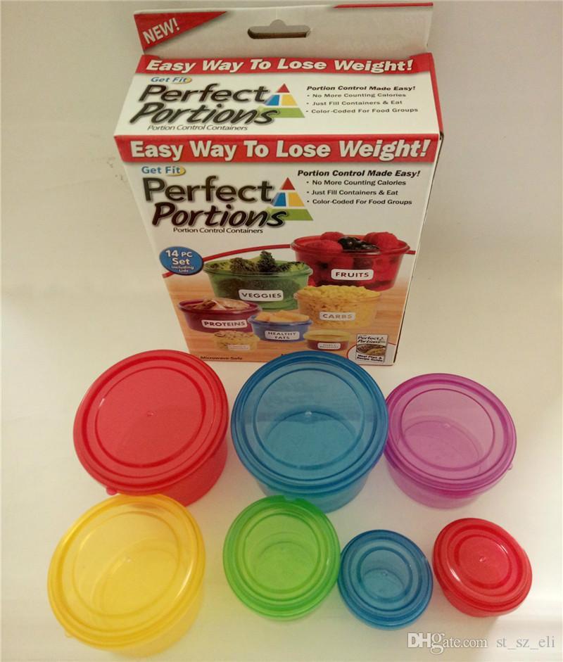 Caja de conservación Porciones perfectas Contenedores de control de porciones Almacenamiento de alimentos Manera fácil de perder peso usando la porción / set