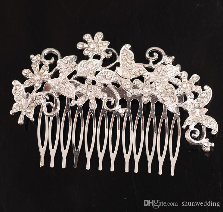 Kadınlar Gelin Düğün Kristal Rhinestone Sahte İnci Çiçek Kelebek Saç Combs Saç Aksesuarları Gelin Tiara Gümüş Kaplama