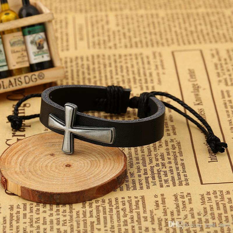 Brand new New cross leather cowhide bracelet leather bracelet FB071 a Charm Bracelets