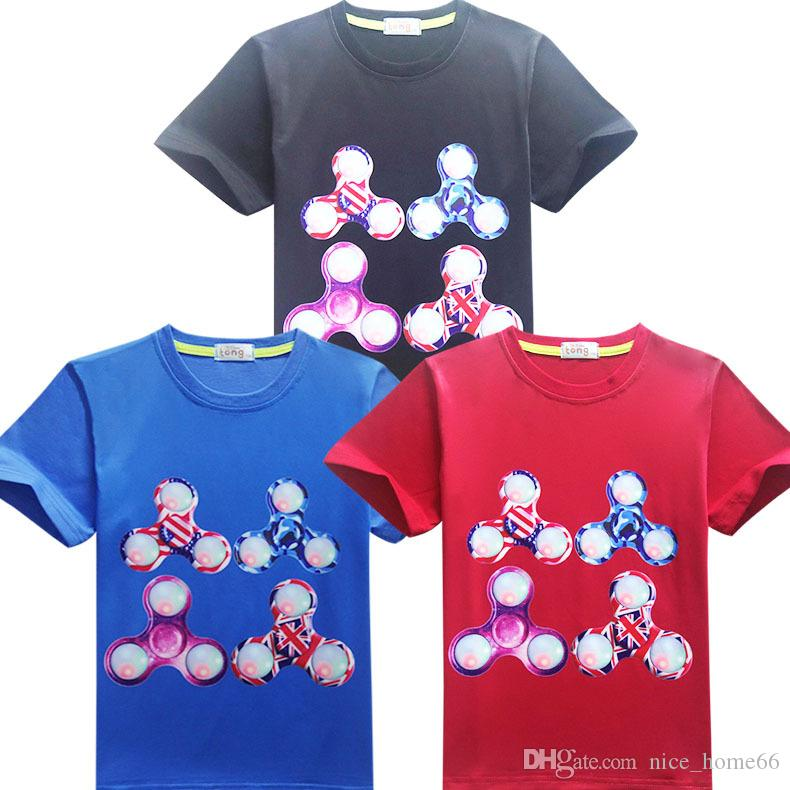 Fidget Spinners Tshirt Kids Triangle Short Sleeve Tops Tees Baby Boys Girls Children Clothing Teenager Toddler Cartoon t-shirt