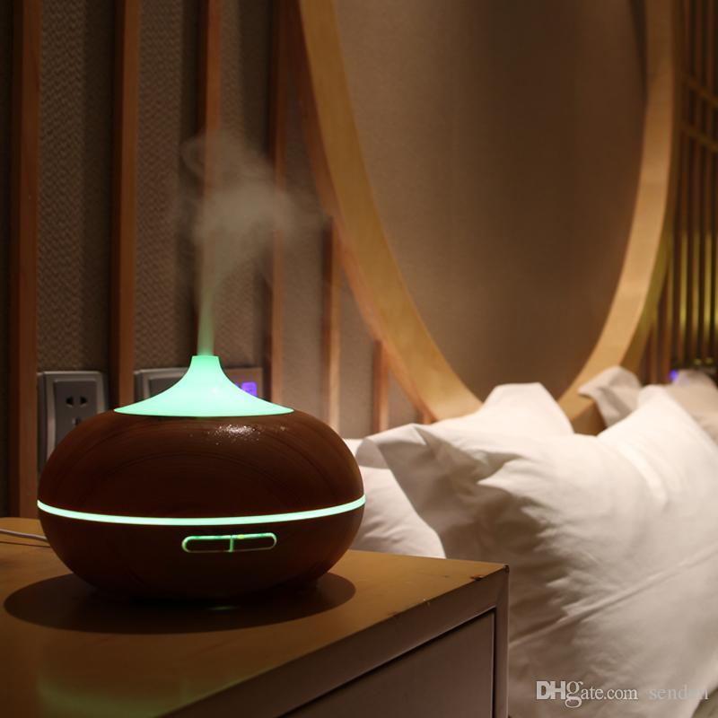 Hot 300 ml Aroma Difusor Grano de madera con luces LED Aceite esencial Ultrasónico pulverizador de diamante para la oficina en casa Dormitorio Yoga Spa