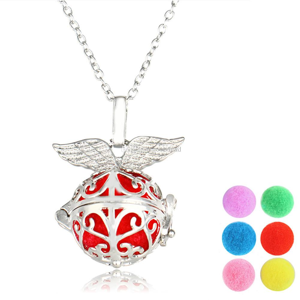 Aromatherapy Essential Oil Diffuser Necklace-Angel Wing Locket Pendant with 6 Release Balls