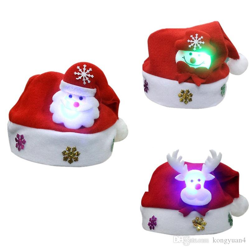 Christmas Hat Party Part - 28: Led Christmas Hat Child Children Santa Red Accessories Decorations For  Holiday Party New Year Supplies One Year Old Birthday Hat Online Party  Supplies From ...