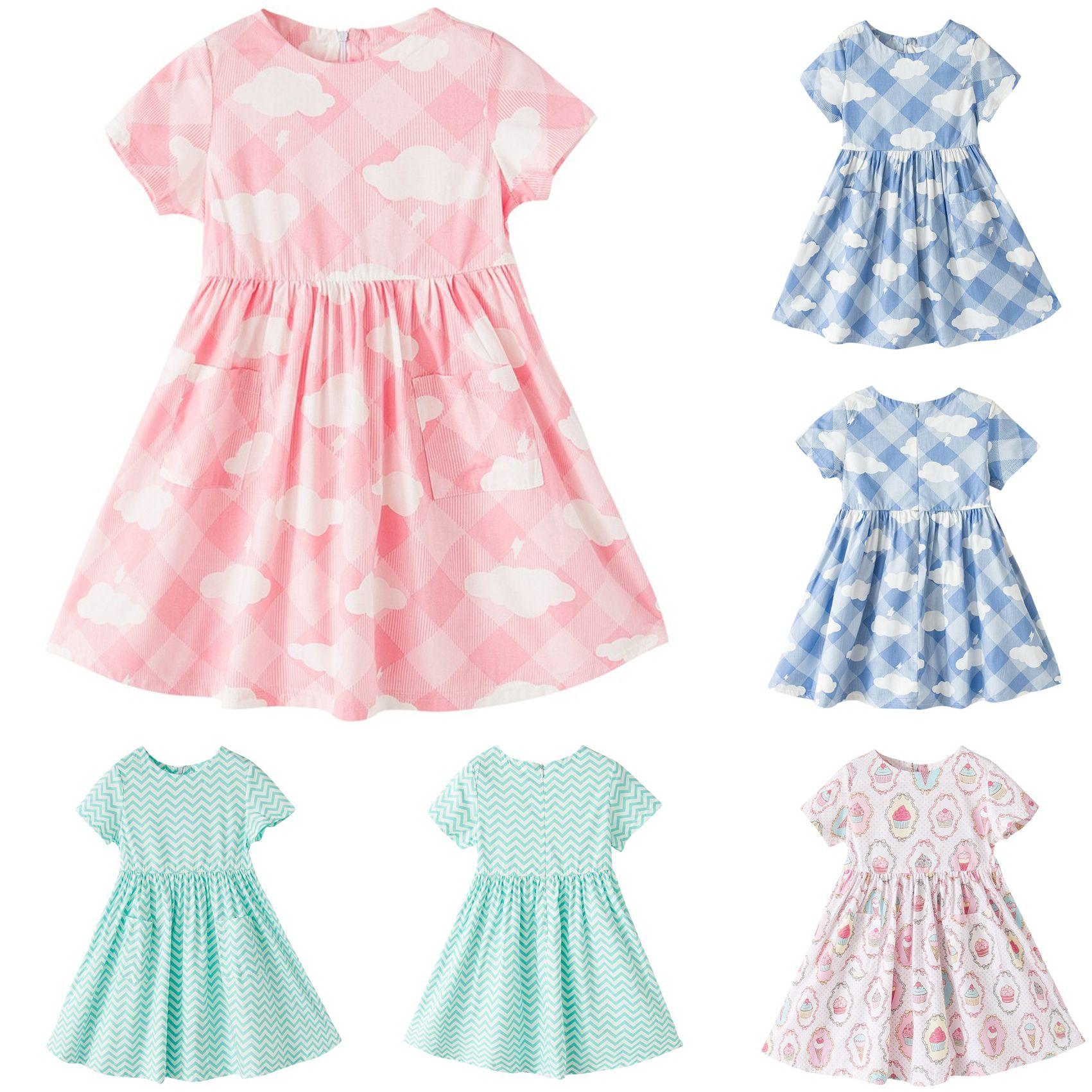 2018 Girls Dresses Cotton Girls Printed Summer Dress Size 1 12 Year
