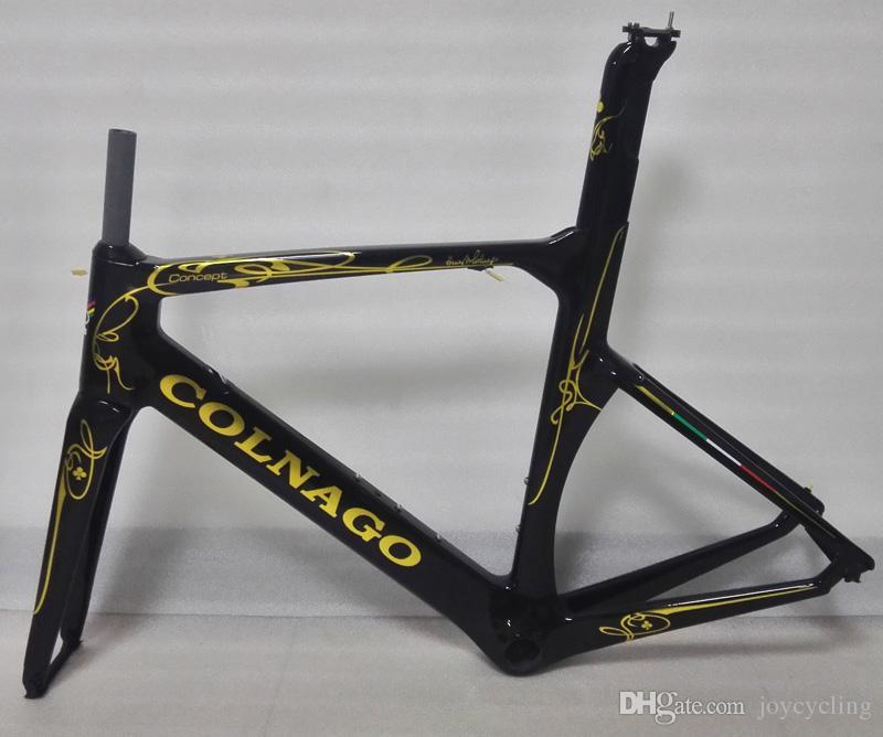 Whosale Brand New 2017 Colnago Concept Blackgold Version Ud Velo Bici Bicicletta Carbon Road Bike 454850525456cm