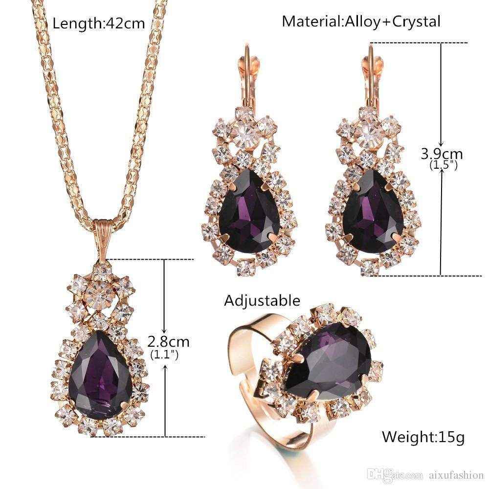 Sistemas de la joyería de moda Pendientes de diamantes de cristal Collares pendientes Anillos establecidos para mujeres Chica Regalo del partido Personalidad Brillante joyería nupcial