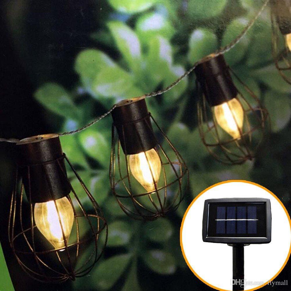 10led Solar Garden Light LED Solar Bulb Vintage Cage String Light Waterproof Solar Lamp Outdoor Decorative Lights for Garden Party Christmas