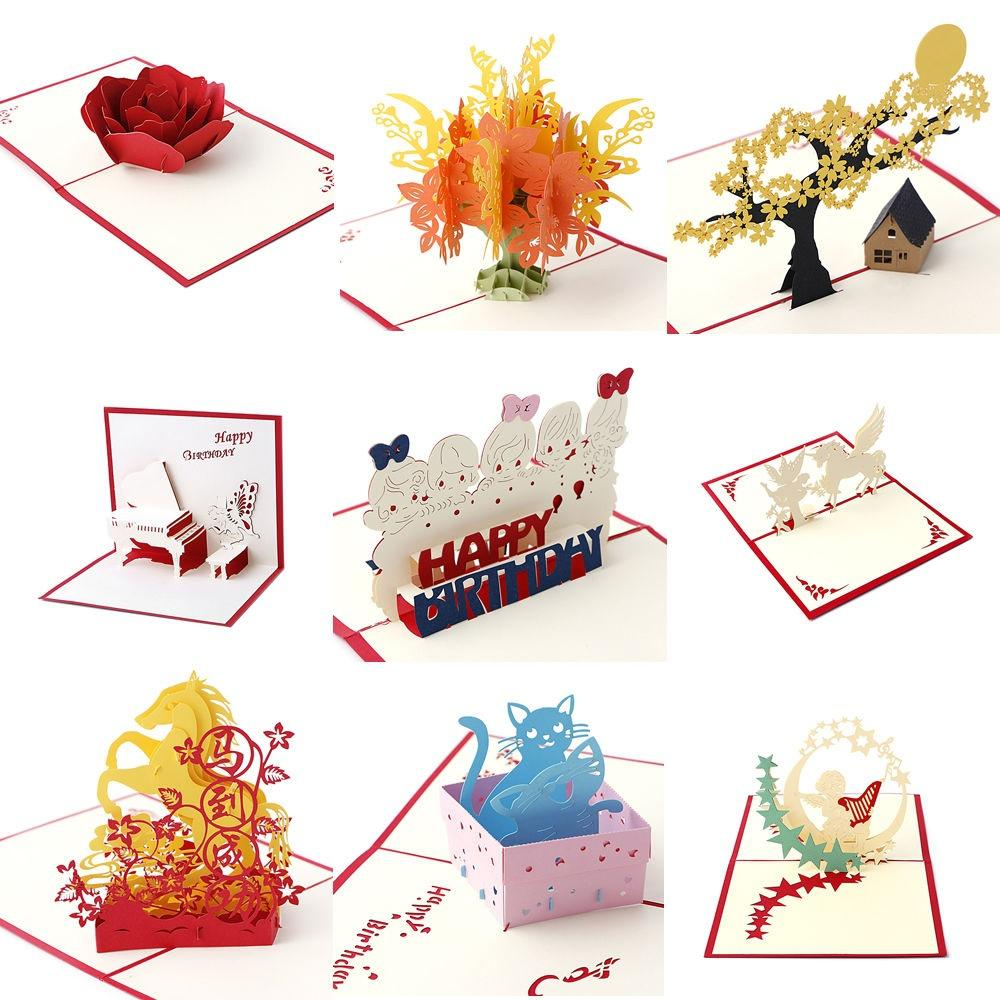 3D Pop Up Holiday Greeting Card Happy Birthday Christmas Gifts MAG