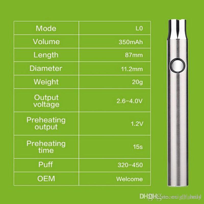 CO2-Ölpatrone LO-Vorwärmfunktion VV-Batterie 510 Gewinde 380mAh Schnellvorwärmbatterie für dicke Ölpatrone Ceramic Glass vape pen