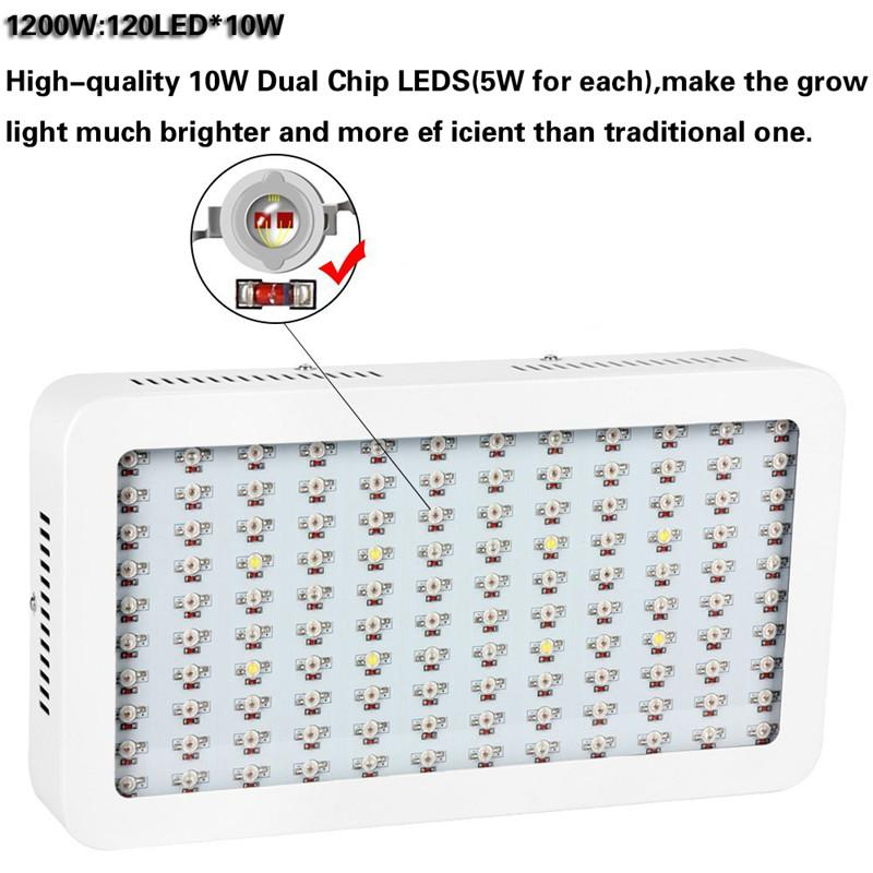 1000W 1200W LED Grow Light Double Chips Full Spectrum with UV and IR for Greenhouse Indoor Plant Veg and Flower