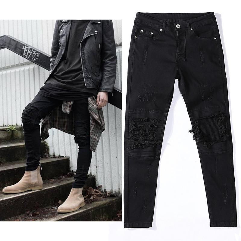 6509289b Wholesale New Mens Ripped Jeans Hiphop Streetwear Pants Cotton Black Slim  Fit Motorcycle Jeans Men Vintage Distressed Denim Jeans Canada 2019 From ...