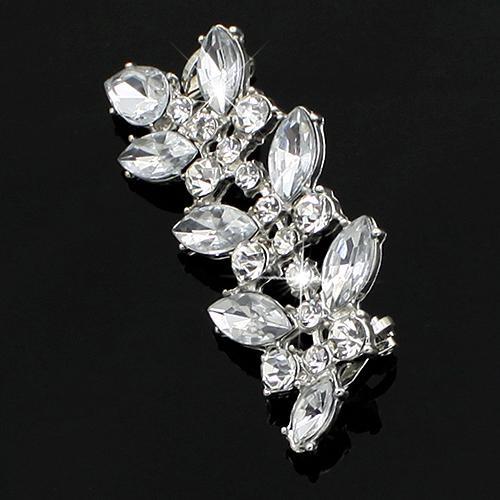 Diseño de cristal de estilo punk clásico clip pendientes del Rhinestone Hojas del oído Cuff 5UGH 6SCJ 7IZ3