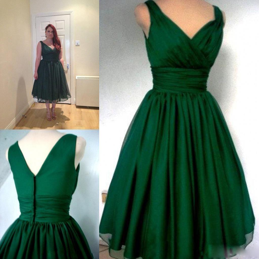 Robe de cocktail vert émeraude v-cou A-ligne de thé Vintage Longueur Plus Size en mousseline de soie élégante robe de soirée