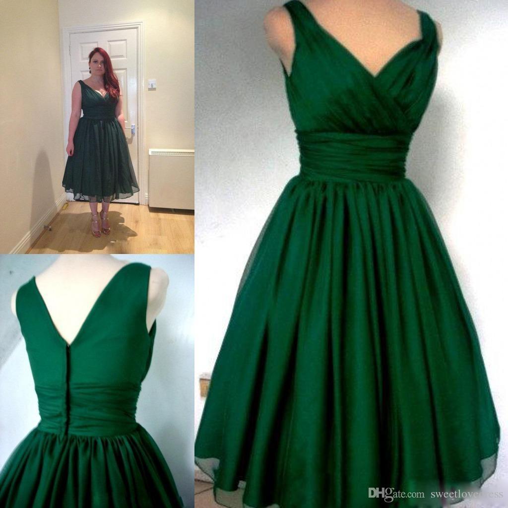 Verde esmeralda cocktail dress com decote em v a linha de chá vintage comprimento plus size chiffon elegante cocktail party dress