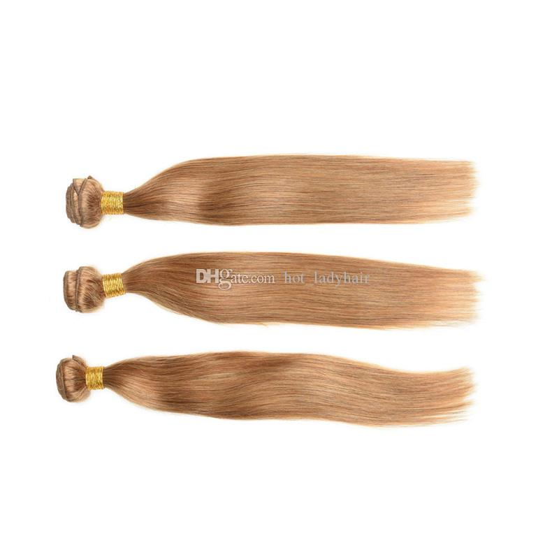 Brazilian Honey Blonde Virgin Hair Straight 3 Bundles Color #27 Strawberry Blonde Straight Human Hair Extensions Dhl Free