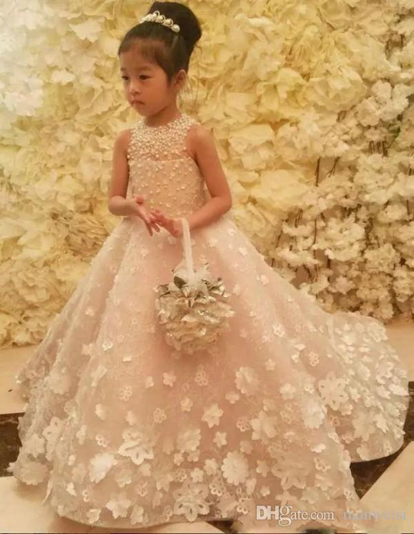 9ac0f9402b5e Luxury Ball Gown Flower Girls Dresses For Weddings Pearls 3D Floral ...