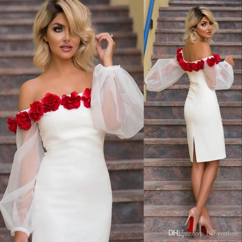 2018 New Designed Sheath Cocktail Prom Dresses Arabic Poet Long Sleeves with Hand Made Flowers Knee Length Mother Of Bride Dresses Evening