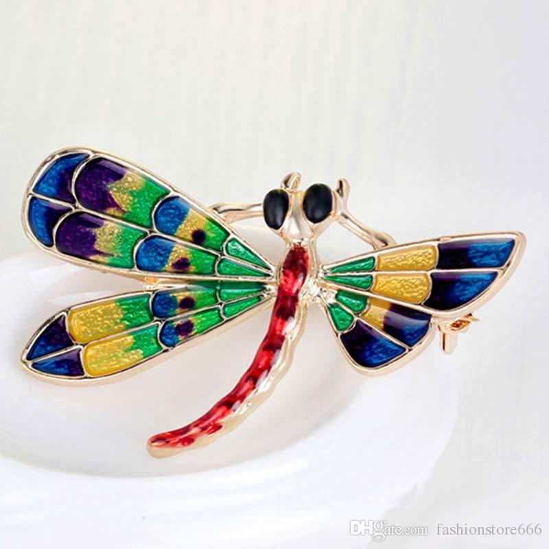 Vintage Design Shinny Fashion Enamel Brooches Dragonfly Brooches for Women Dress Scarf Brooch Pins Jewelry Accessories Gift