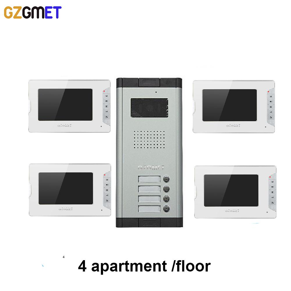 GZGMET White Video Phone Doorbell Unlock 7 Inch 100 Meter Doorphone ...