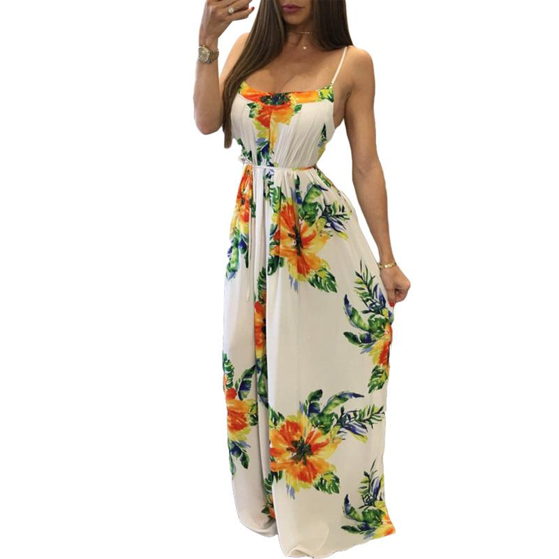 1a4f621bee5d Plus Size Women Dresses Sexy Beach Casual Wear Long Maxi Dress Spaghetti  Strap Backless Summer Dress Robe Female Online with  25.01 Piece on Jokay s  Store ...