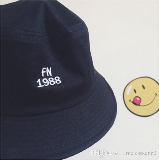 "New Black Navy Blue Cotton "" Free Night"" "" FN1988"" Letter Embroidery Bucket Hats Men Hip Hop Fisherman Cap"