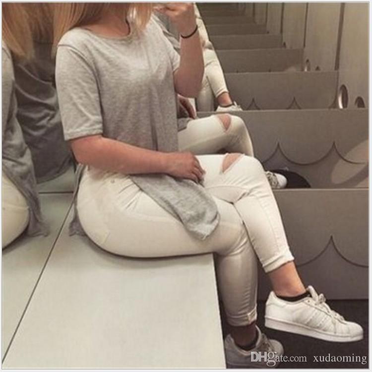 2017 nuevo patrón de traje-vestido de cuello redondo falda de ventilación de color sólido camiseta lástima camisetas largas blusas mujeres camiseta ropa mujer ropa