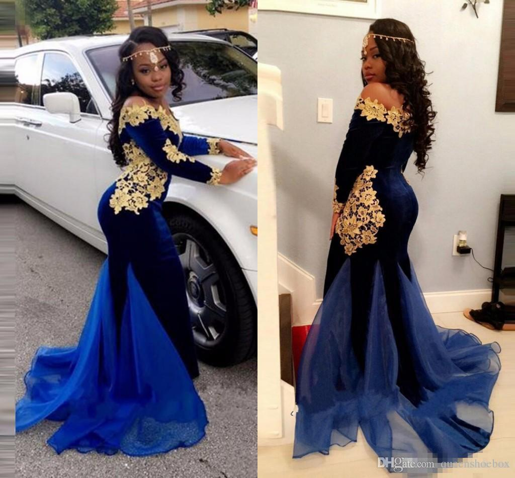e30eb72c1e6a Saudi Arabic Long Sleeves Evening Gowns 2018 Navy Blue Gold Appliques  Mermaid Prom Dress Off The Shoulder African Special Occasion Dress Canada  2019 From ...