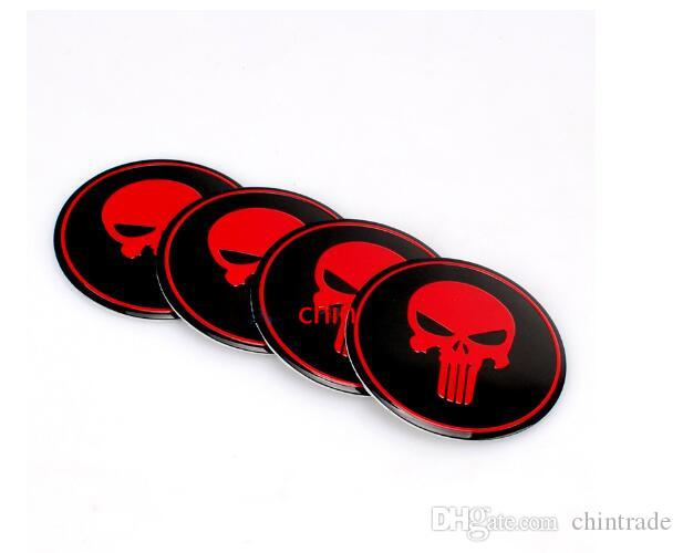 Car Emblem Center Wheel Hub Cap Sticker Badge Cover Stickers For Badges Emblems Aluminum Sticker For skull