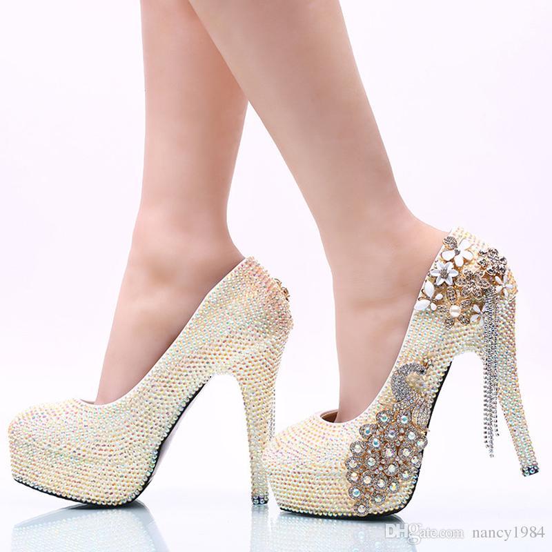 Gorgeous White AB Rhinestone Women High Heel Party Prom Shoes Phoenix Crystal Bridal Wedding Shoes Graduation Party Pumps