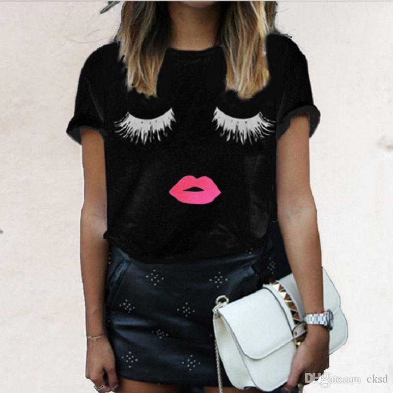 мода секс для губ ресниц печати футболки для женщин Топы плюс размер от которого черный растениеводство топы смешные печати с коротким рукавом футболки WT20 WR