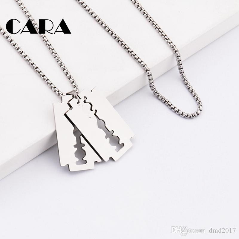 """CARA New well polished 316L stainless steel hip hop mens stylish jewelry necklace shaving blade pendant with 27.5"""" chain CAGF0308"""